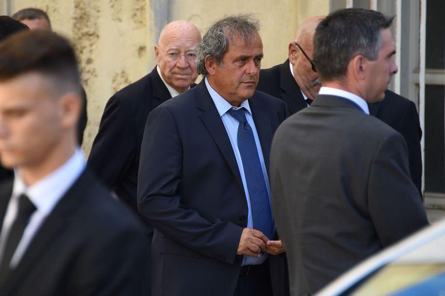 Michel Platiniaux obsèques de Louis Nicollinà Montpellier, le 4 juillet 2017.