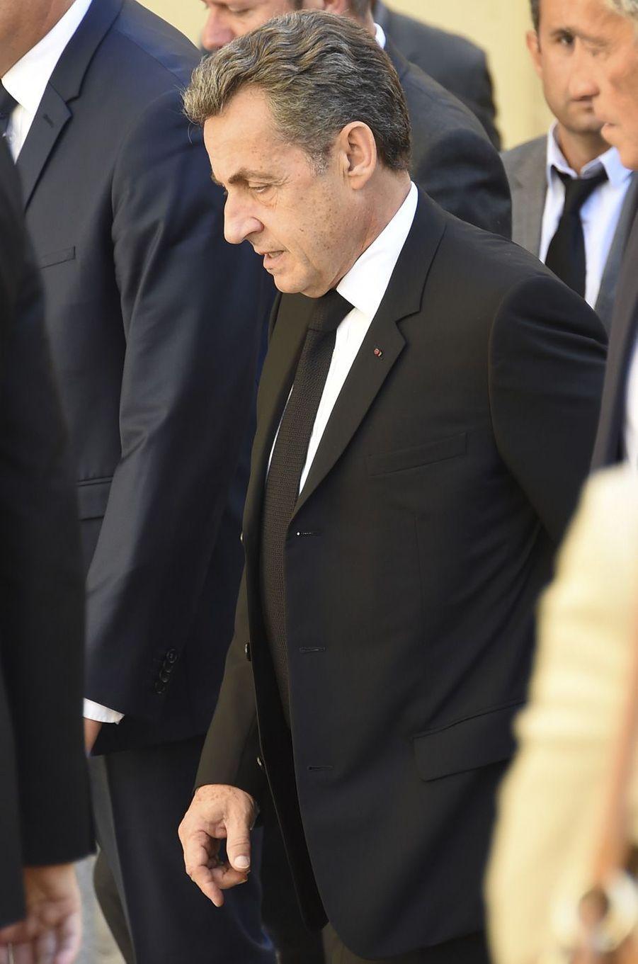Nicolas Sarkozyaux obsèques de Louis Nicollinà Montpellier, le 4 juillet 2017.