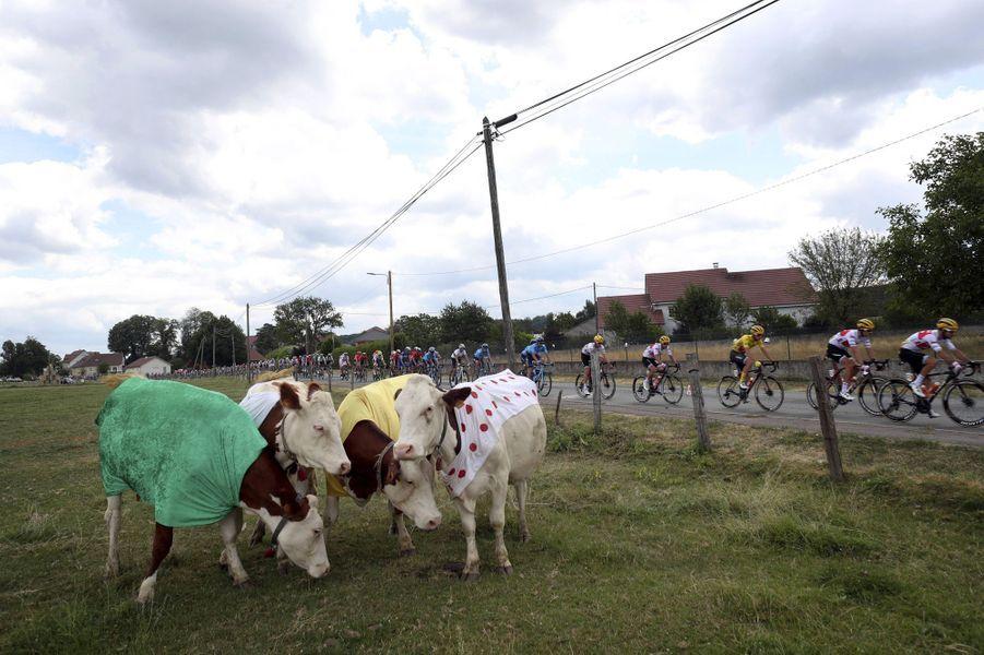Sur les routes du Tour lors de l'étape entre Belfort et Chalon-sur-Saône, le 12 juillet.