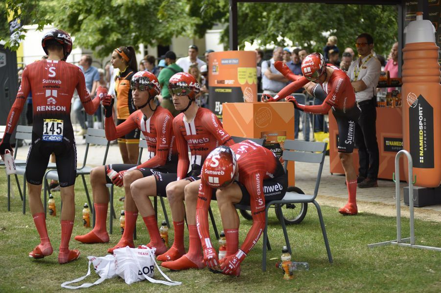 Les Sunweb lors du contre-la-montre par équipesBruxelles Palais Royal - Bruxelles Atomium, dimanche 7 juillet.