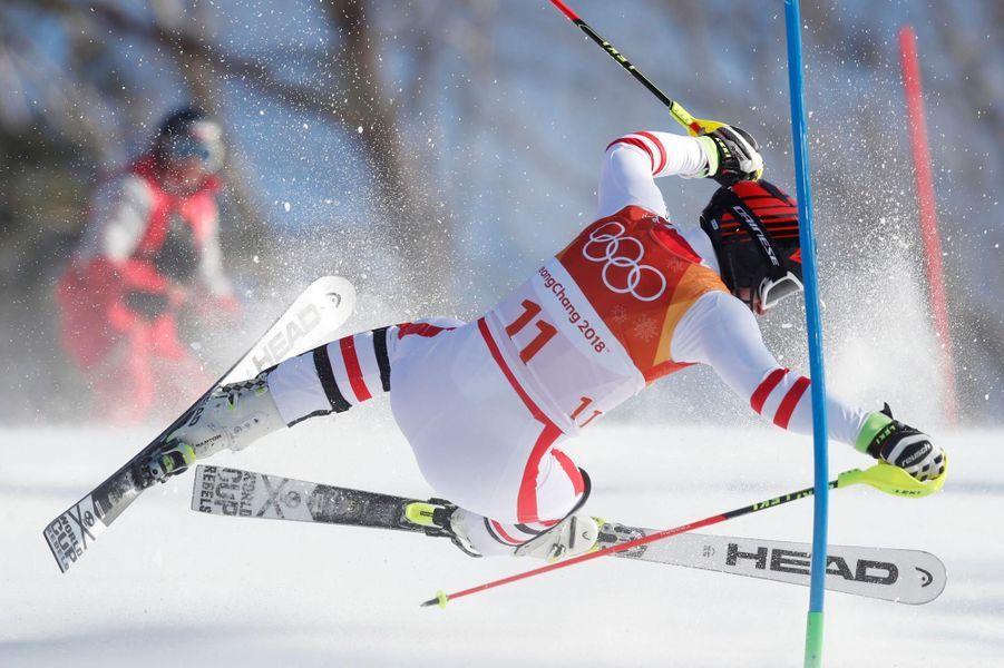 L'AutrichienMatthias Mayer a mordu la poudreuse dans l'épreuve du combiné.