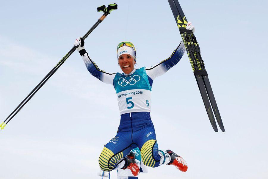 La champion olympique suédoise Charlotte Kalla au Skiathlon.