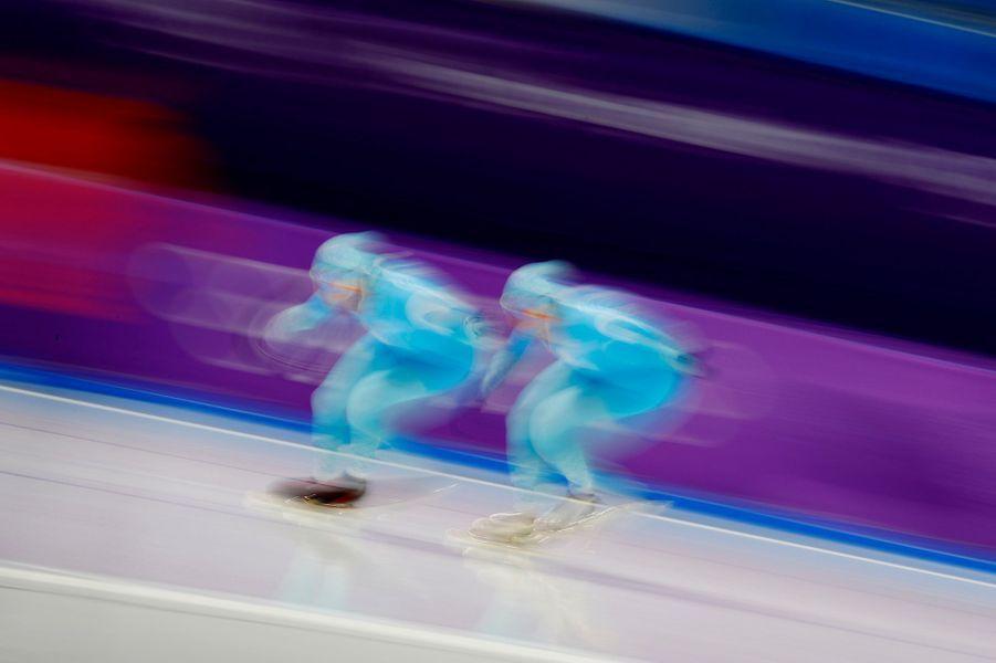 L'entrainement des patineurs de vitesse kazakhs.