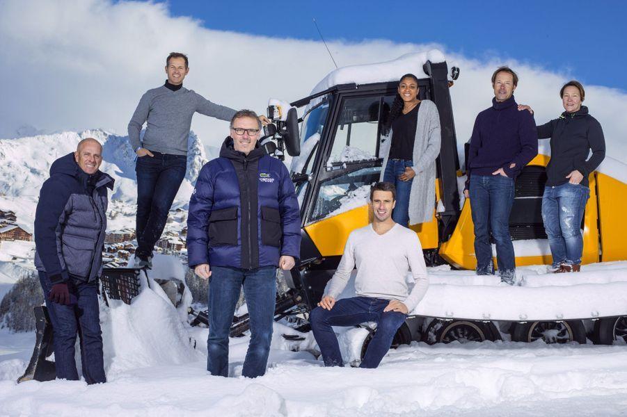 Les barons du sport français à La Plagne : Guy Forget,Edgar Grospiron, Laurent Blanc, Tony Estanguet,Marie-José Perec,Thomas Coville etCarole Montillet.