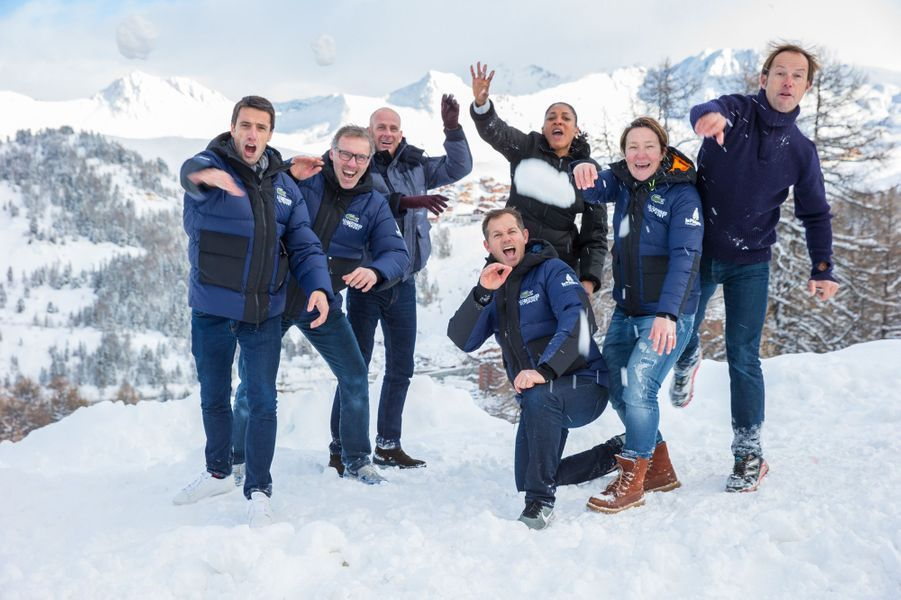 Tony Estanguet, Laurent Blanc, Guy Forget, Edgar Grospiron, Marie-José Perec, Carole Montillet,Thomas Coville s'amusent à La Plagne.