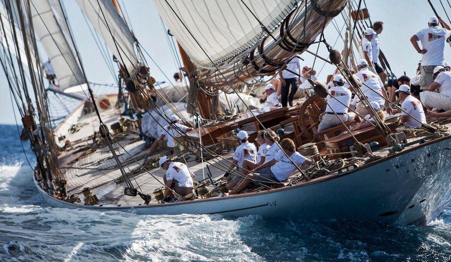 « Elena » à la manœuvre dans la golfe de Saint-Tropez : un schooner de 55 mètres lancé en 2009, d'après des plans datant de 1928.