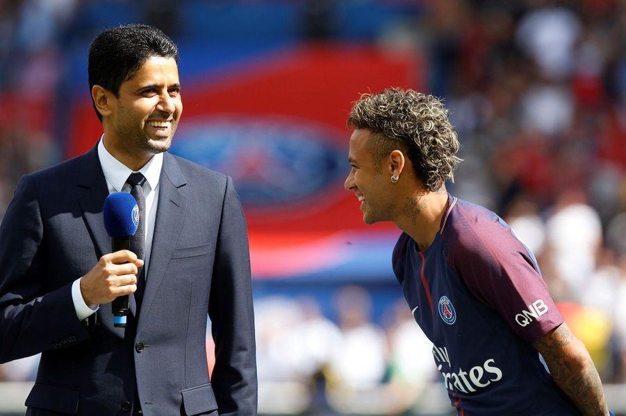 Neymar et le président du PSGNasser Al-Khelaïfi samedi au Parc des Princes