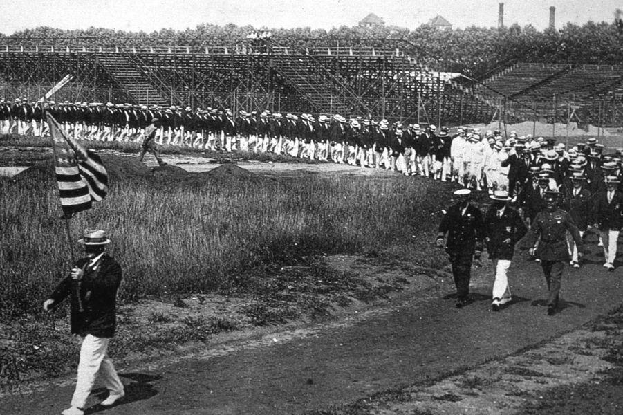 Les USA à la cérémonie d'ouverture des JO de Paris, 1924.