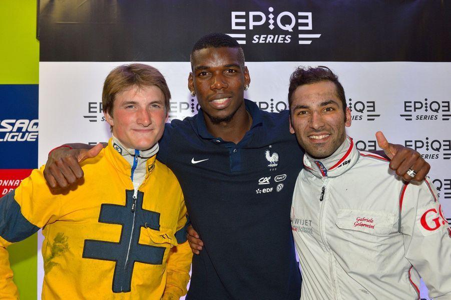 Le driver Thomas Levesque, Paul Pogba et Gabriele Gelormini, jockey-driver