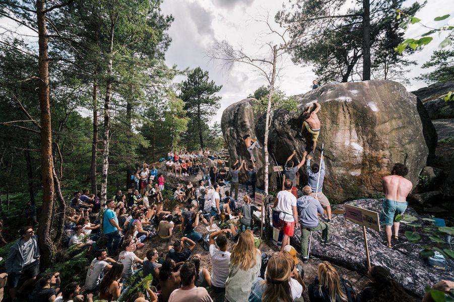 """Lors de la compétition d'escalade de blocs """"Red Bull Font&Bleau"""", à Fontainebleau, le 16 juin 2019."""