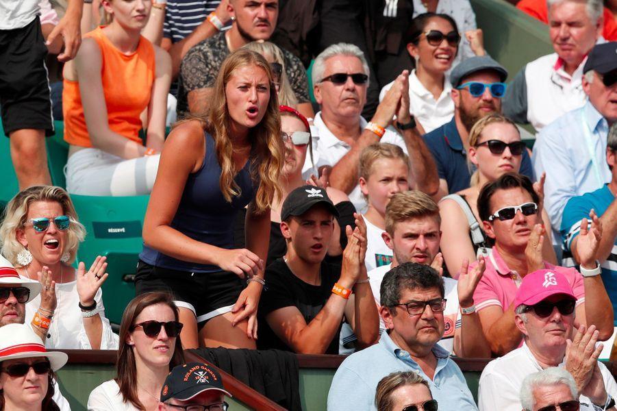 Kristina Mladenovic, petite amie de Dominic Thiem lors de la finale de Roland-Garros, le 10 juin 2018.