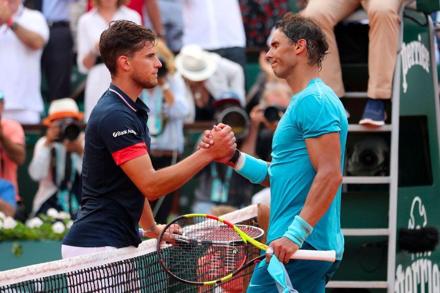 Nafael Nadal et Dominic Thiem lors de la finale de Roland-Garros, le 10 juin 2018.