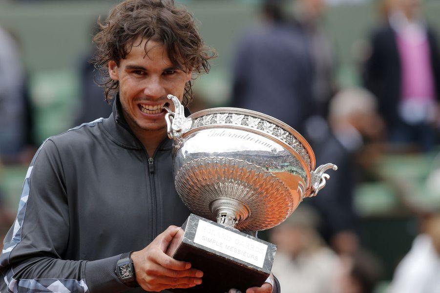 Rafael Nadal et son septième titre à Roland-Garros, en juin 2012.