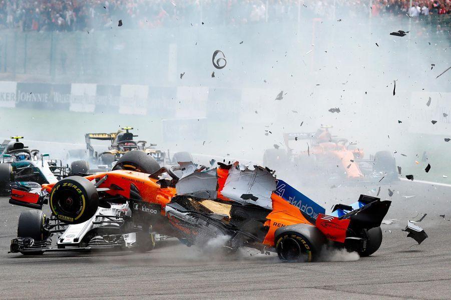 Un spectaculaire accident a eu lieu durant le Grand Prix de Formule 1 de Belgique, le 26 août 2018.