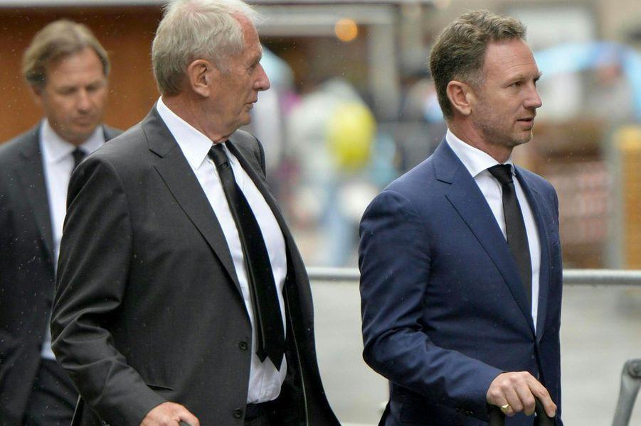 Helmut Marko et Christian Horneraux obsèques de Niki Lauda à Vienne, le 29 mai 2019.