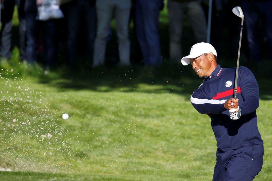 Le golfeur américain Tiger Woods s'est entraîné ce matin sur les greens duGolf national de Saint-Quentin-en-Yvelines en vue de la Ryder Cup.