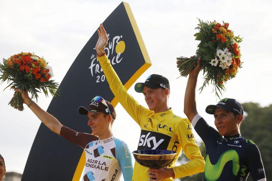 Bardet, Froome et Quintana, respectivement 2e, 1er et 3e