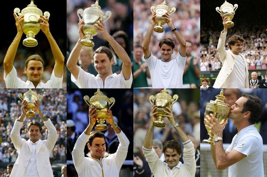 Toutes les victoires de Roger Federer à Wimbledon.