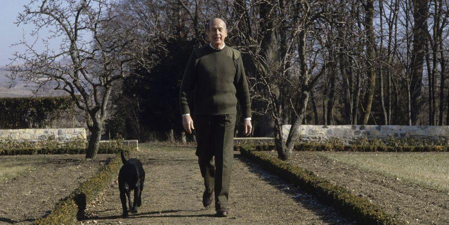 Valéry Giscard d'Estaing avec Samba le labrador au château familiale de La Varvasse, en février 1986