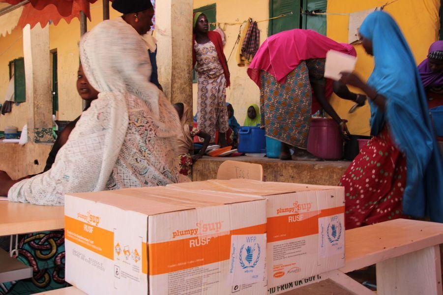 Distribution de nourriture dans le camp de Pompomari à Damaturu, Nigéria, le 26 janvier 2017