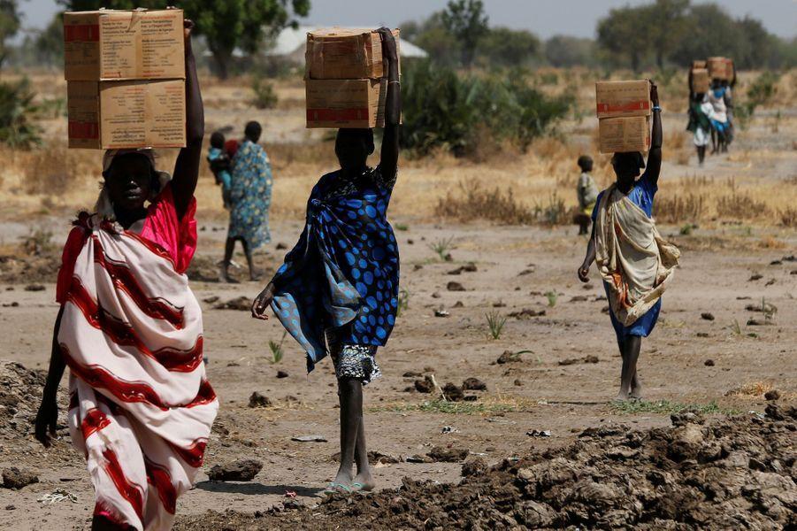 Distribution de nourriture dans le village de Rubkuai, Sud Soudan, le 16 février 2017