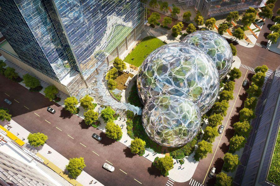 Illustration 3D des sphères Amazon à Seattle