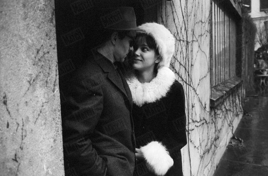 Anna Karina et Jean-Luc Godard, en février 1963.