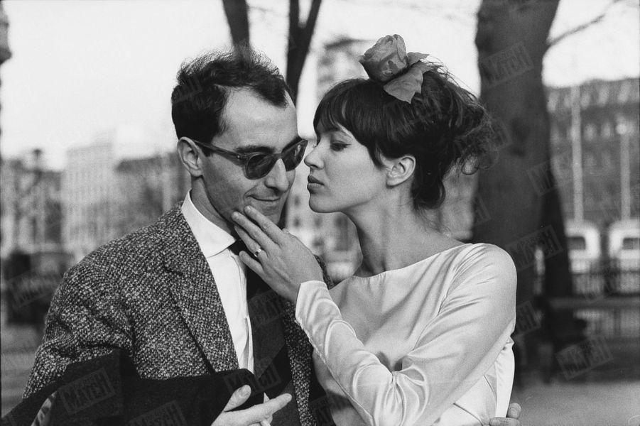 Anna Karina avec Jean-Luc Godard, lejour de leur mariage, le7 mars 1961, en Suisse.