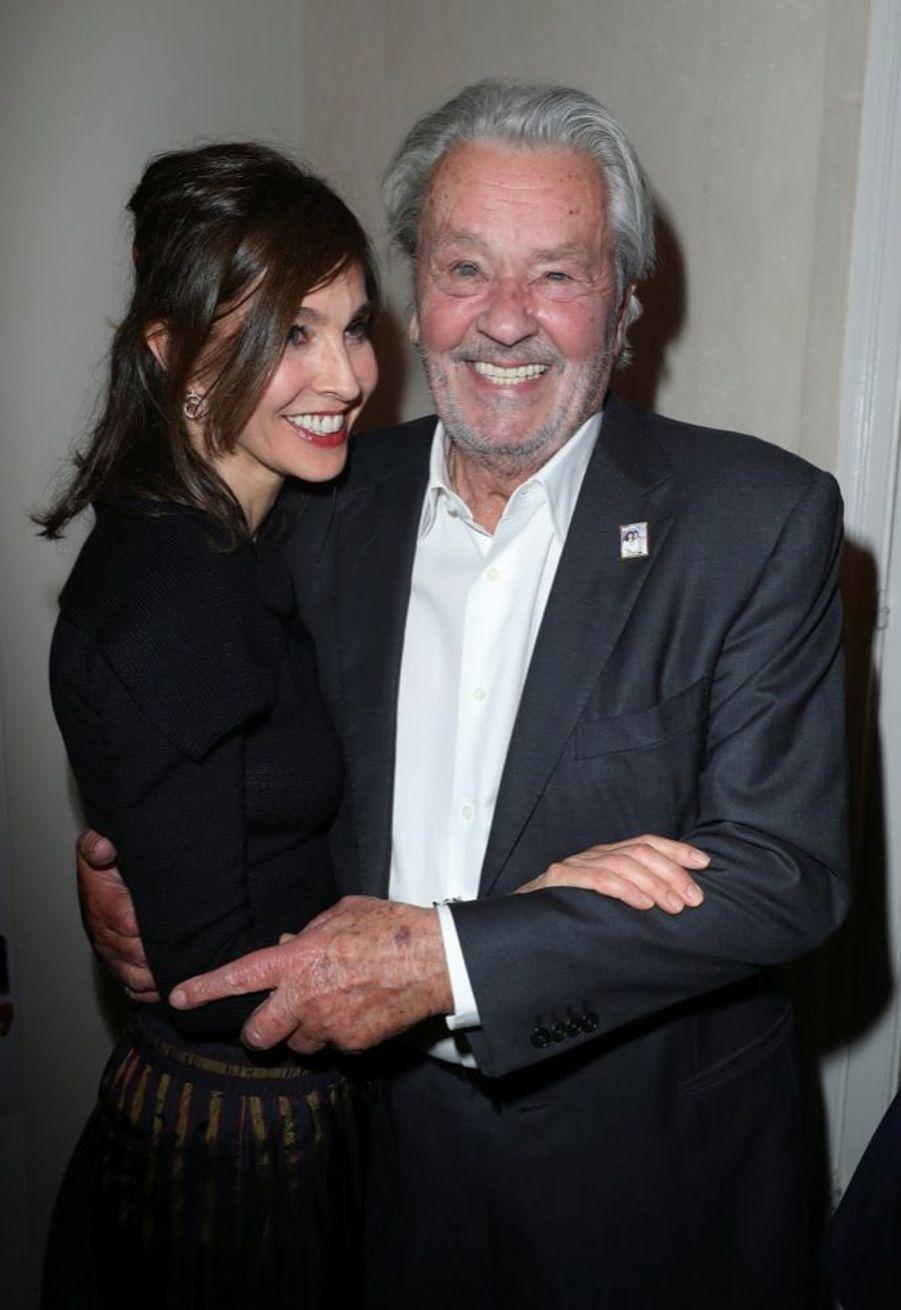 """Anne Parillaud et Alain Delon à la soirée donnée pour les 70 ans du magazine """"Paris Match», le 11 juin 2019."""