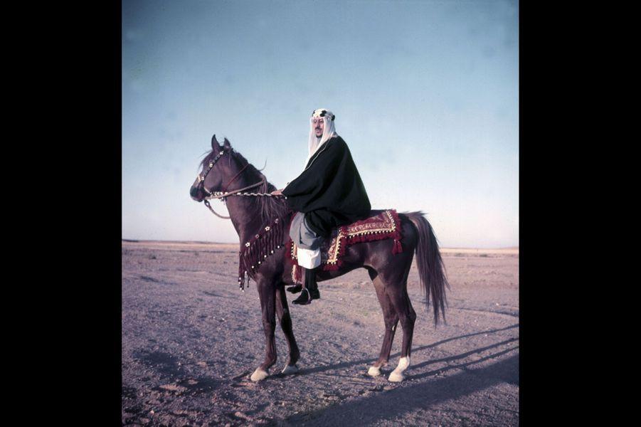 Le roi Saoud Ben Abdel Aziz à cheval dans le désert, proche de son palais Nasri, à 10 km de Riyad