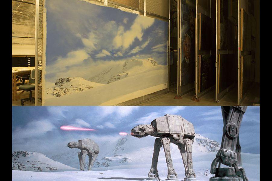 En bas, le trompe l'oeil dans son contexte cinématographique. Les quadripodes impériaux étaient animés image par image.