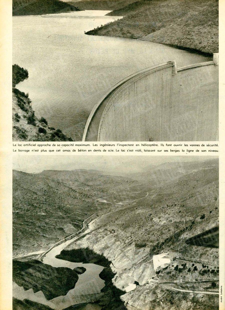« (En haut) Le lac artificiel approche de sa capacité maximum. Les ingénieurs l'inspectent en hélicoptère. Ils font ouvrir les vannes de sécurité… (En bas) Le barrage n'est plus que cet amas de béton en dents de scie. Le lac s'est vidé, laissant sur ses berges la ligne de son niveau.» - Paris Match n°557, 12 décembre 1959.