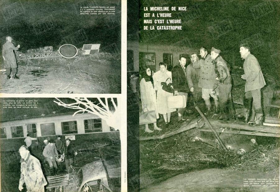 « La micheline de Nice est à l'heure, mais c'est l'heure de la catastrophe : La micheline va entrer en gare. Soudain, plus de rails. Le torrent les a arrachés. Les voyageurs se sont précipités dans les deux voitures de tête. Le rapide Vintimille-Genève est passé il y a quelques minutes. Maintenant les signaux se sont abattus sur la voie retournée comme pour une charrue.» - Paris Match n°557, 12 décembre 1959.