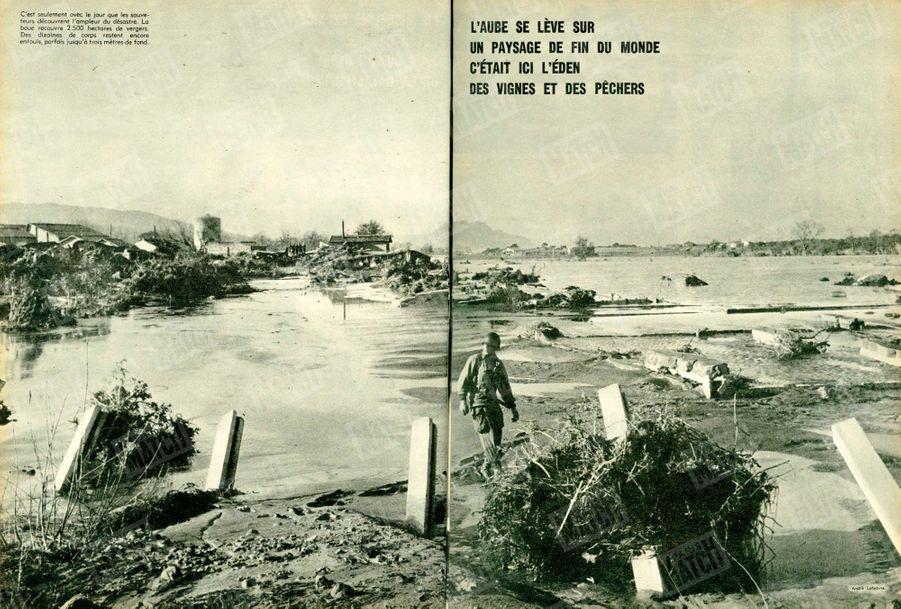 « L'aube se lève sur un paysage de fin du monde, c'était ici l'Eden des vignes et des pêchers : C'est seulement avec le jour que les sauveteurs découvrent l'ampleur du désastre. La boue recouvre 2 500 hectares de vergers. Des dizaines de corps restent encore enfouis, parfois jusqu'à trois mètres de fond. » - Paris Match n°557, 12 décembre 1959.