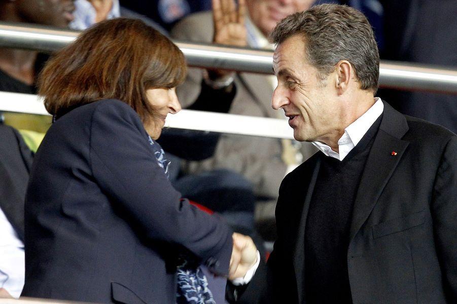 Anne Hidalgo et Nicolas Sarkozy au Parc des Princes pour le match PSG-Barcelone