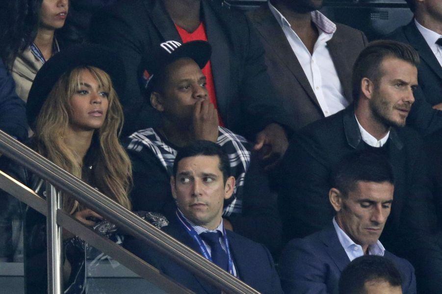 Beyoncé, Jay Z et David Beckham au Parc des Princes pour le match PSG-Barcelone