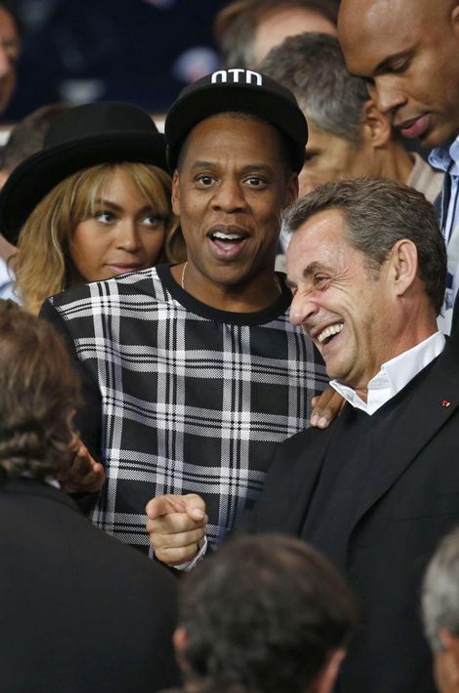 Beyoncé, Jay Z et Nicolas Sarkozy au Parc des Princes pour le match PSG-Barcelone