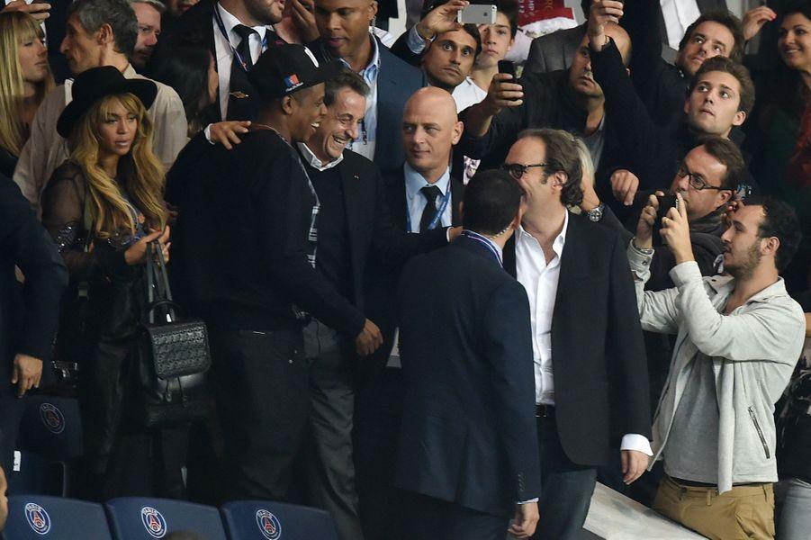 Beyoncé, Jay Z, Nicolas Sarkozy et Xavier Niel au Parc des Princes pour le match PSG-Barcelone