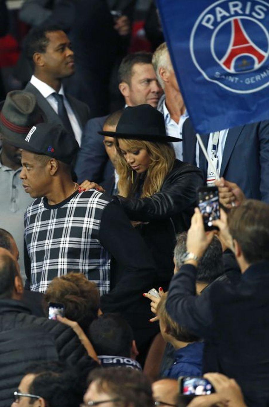 Jay Z et Beyoncé au Parc des Princes pour le match PSG-Barcelone
