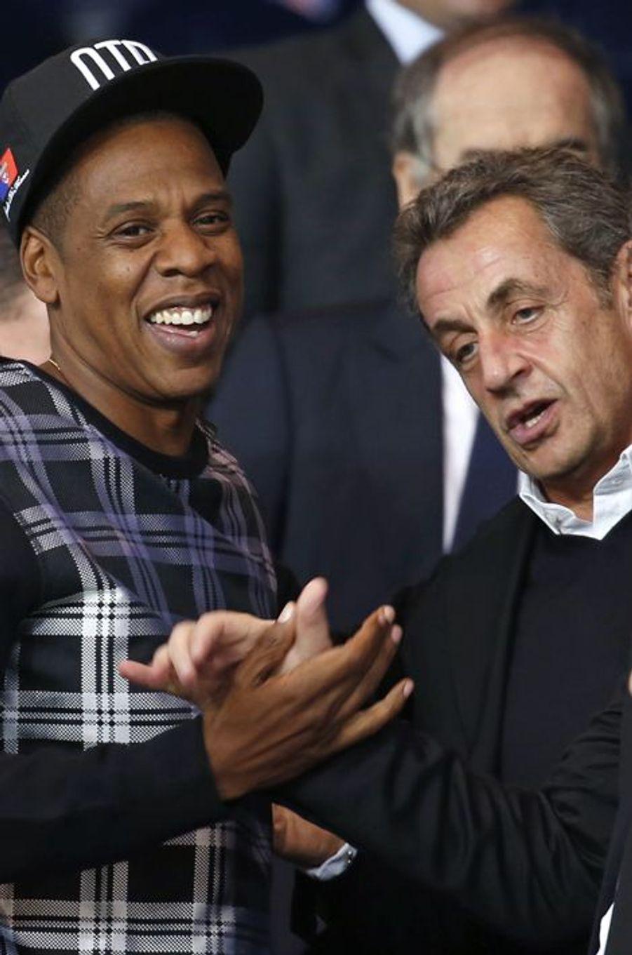 Jay Z et Nicolas Sarkozy au Parc des Princes pour le match PSG-Barcelone