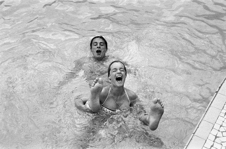 Romy Schneider et Alain Delon, baignade à Monte-Carlo en juillet 1961