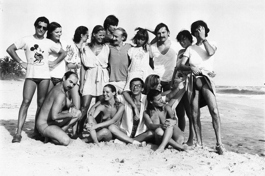 """Le tournage du film """"Les Bronzés"""", en mars 1978."""