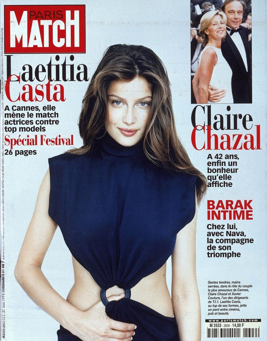 """Laetitia Casta. À Cannes, elle mène le match actrices contre top models"" - Paris Match n°2609, daté du 27 mai 1999"