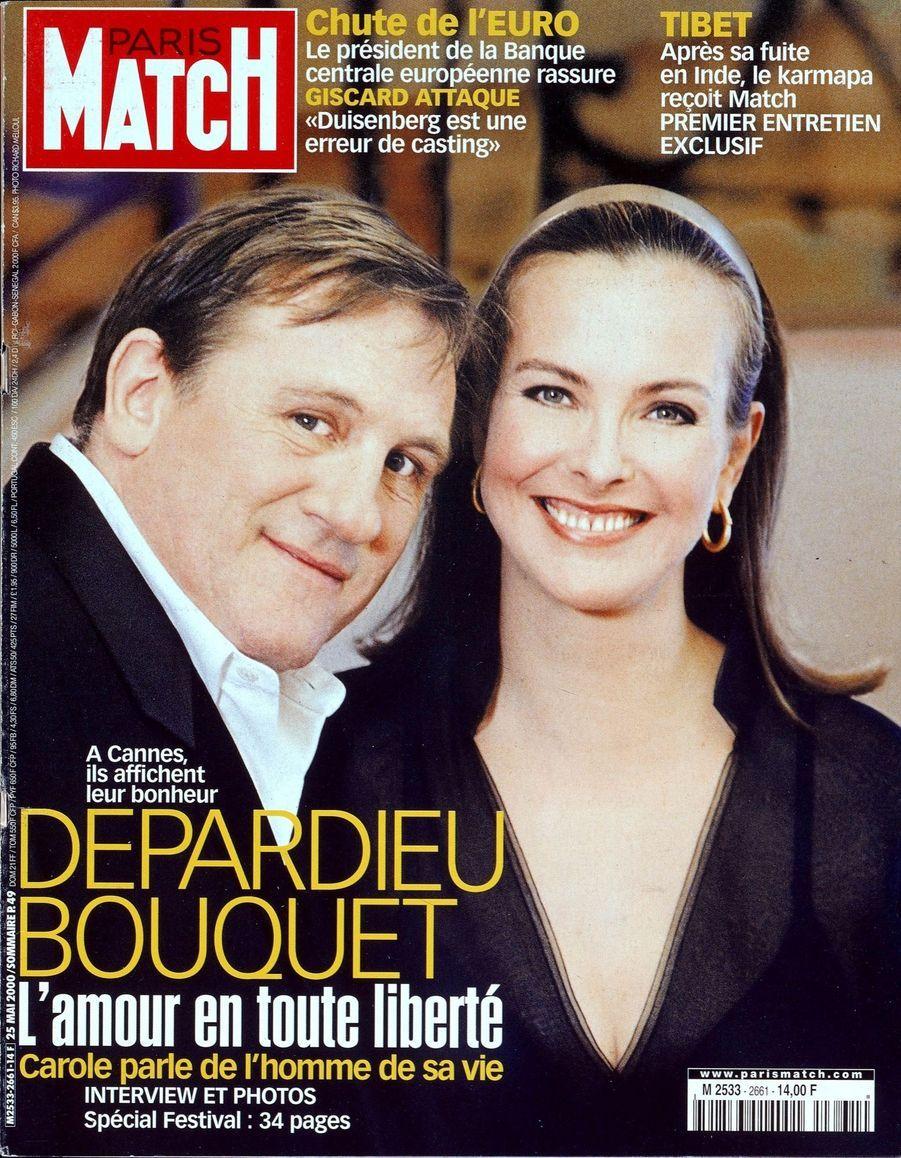 """""""Depardieu & Bouquet, l'amour en toute liberté. À Cannes, ils affichent leur bonheur. Carole parle de l'homme de sa vie."""" - Paris Match n°2661, daté du 25 mai 2000"""