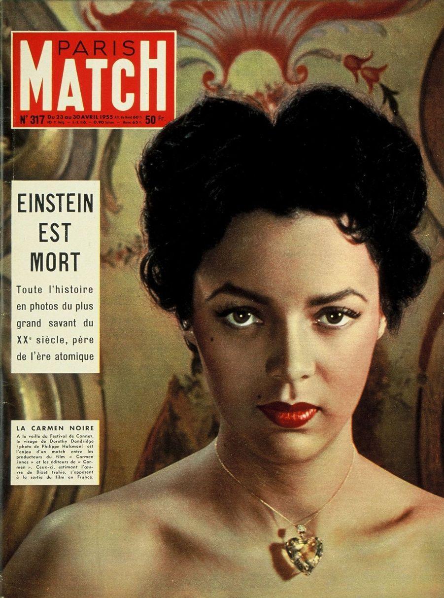 """""""La Carmen Noire. À la veille du Festival de Cannes, le visage de Dorothy Dandridge est l'enjeu d'un match entre les producteurs du film 'Carmen Jones' et les éditeurs de 'Carmen'. Ceux-ci, estimant l'oeuvre de Bizet trahie, s'opposent à la sortie du film en France."""" - Paris Match n°317, daté du 23 avril 1955"""