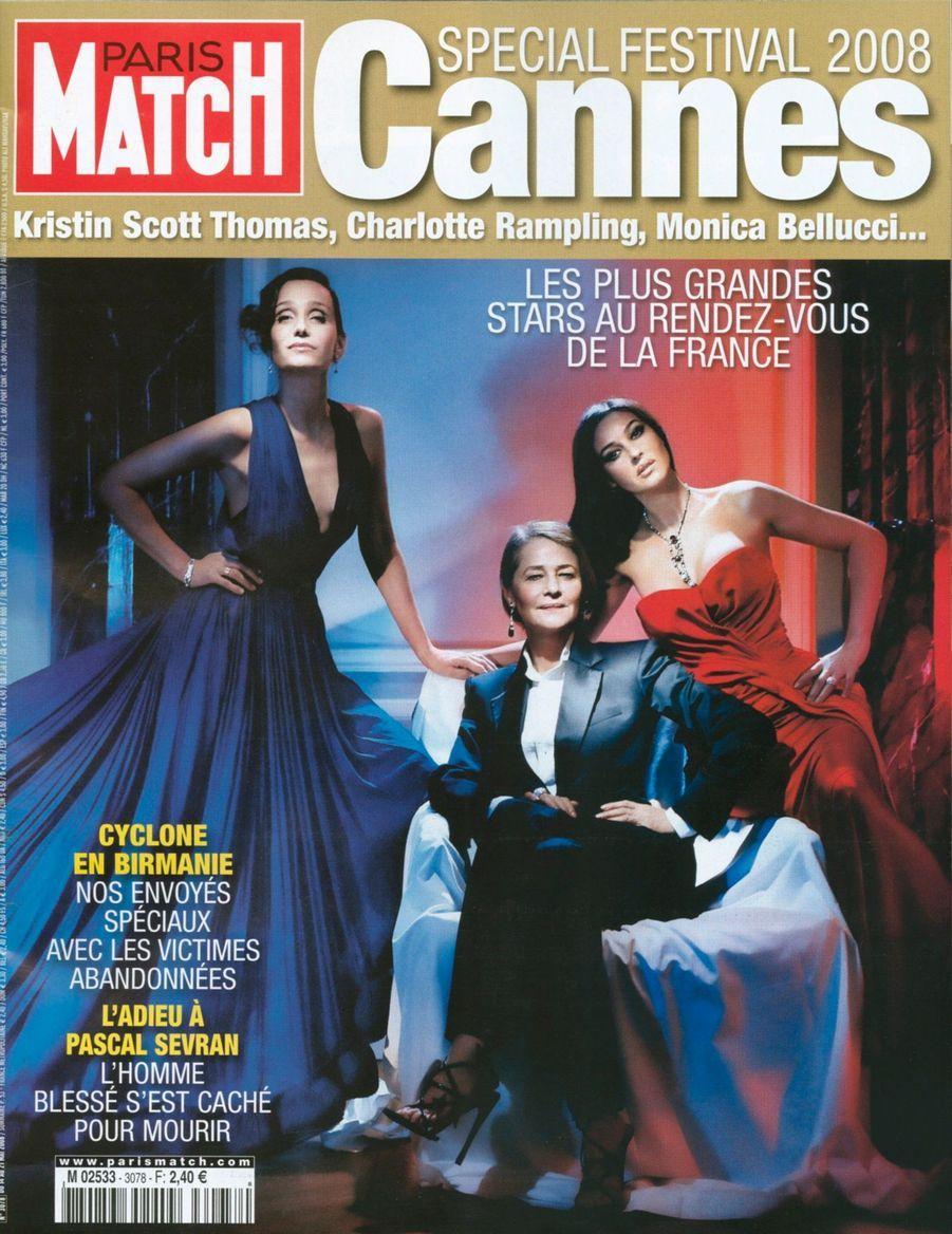 """""""Festival de Cannes 2008 : Kristin Scott Thomas, Charlotte Rampling, Monica Bellucci... Les plus grandes stars au rendez-vous de la France"""" - Paris Match n°3078, daté du 14 mai 2008"""