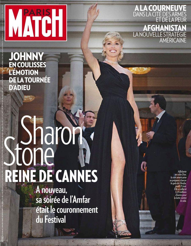 """""""Sharon Stone, Reine de Cannes : À nouveau, sa soirée de l'Amfar était le couronnement du Festival"""" - Paris Match n°3132, daté du 28 mai 2009"""