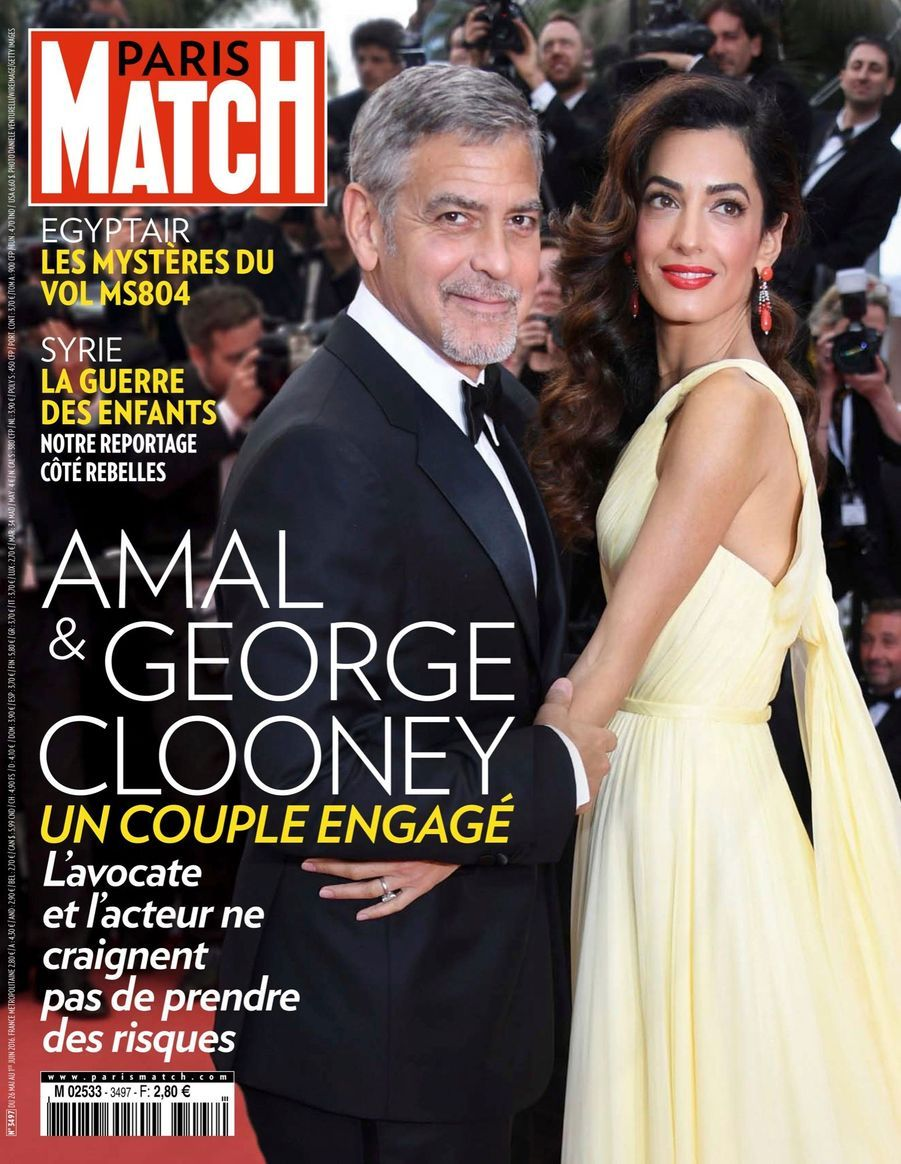 """Amal & Georges Clooney, un couple engagé"" - Paris Match n°3497, daté du 26 mai 2016"