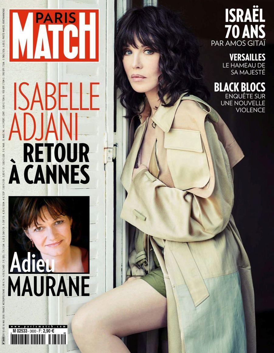 """""""Isabelle Adjani, Retour à Cannes"""" - Paris Match n°3600, daté du 10 mai 2018"""