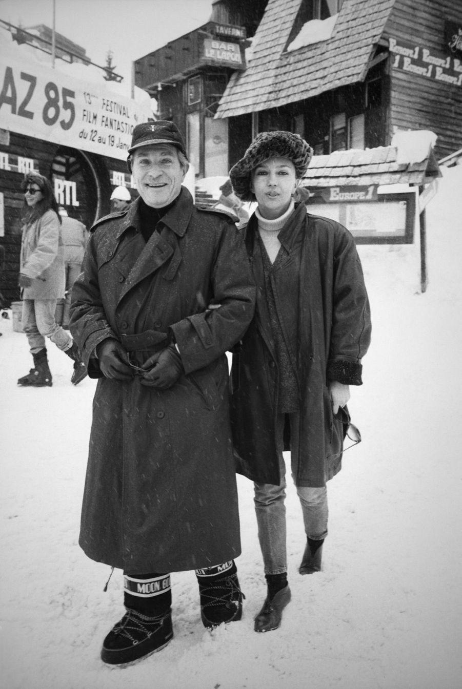 Caroline Cellier et Jean Poiret au Festival international du film fantastique d'Avoriaz,en janvier 1985.